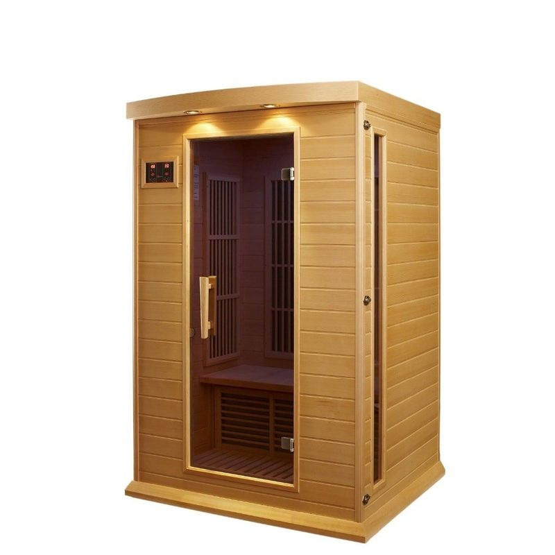 Relaxing Outdoor Sauna Room Hemlock Wood For Healthy Lifestyle
